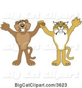 Vector Clipart of Cartoon Bobcat and Cougar School Mascots Holding Hands and Cheering, Symbolizing Teamwork and Sportsmanship by Toons4Biz