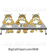 Vector Clipart of Cartoon Bobcat School Mascots Eating Together, Symbolizing Respect by Toons4Biz