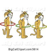 Vector Clipart of Cartoon Bobcat School Mascots Holding Hoops and Standing in Line, Symbolizing Respect of Personal Space by Toons4Biz