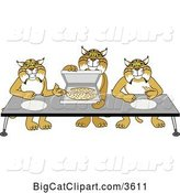 Vector Clipart of Cartoon Bobcat School Mascots Offering Pizza, Symbolizing Gratitude by Toons4Biz