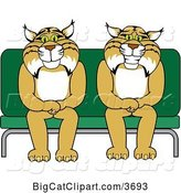 Vector Clipart of Cartoon Bobcat School Mascots Sitting on a Seat, Symbolizing Safety by Toons4Biz