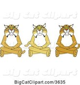 Vector Clipart of Cartoon Bobcat School Mascots Sitting on the Floor, Symbolizing Respect by Toons4Biz