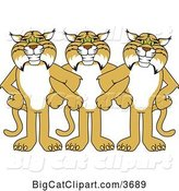 Vector Clipart of Cartoon Bobcat School Mascots Standing with Linked Arms, Symbolizing Loyalty by Toons4Biz