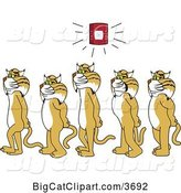 Vector Clipart of Cartoon Bobcat School Mascots Walking in Line As a Fire Alarm Goes Off, Symbolizing Safety by Toons4Biz