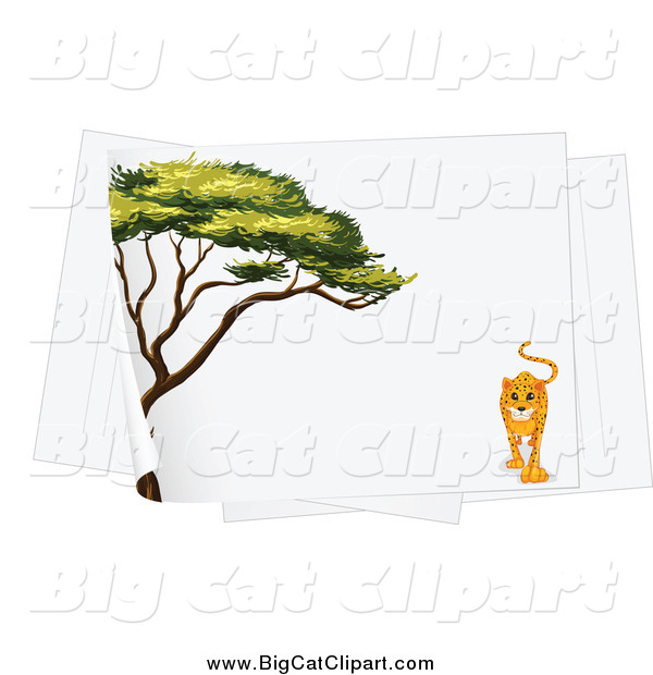 Big Cat Cartoon Vector Clipart of a Acacia Tree and Leopard on a Piece of Paper