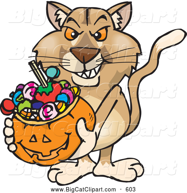 Big Cat Cartoon Vector Clipart of a Aggressive Trick or Treating Puma Holding a Pumpkin Basket Full of Halloween Candy
