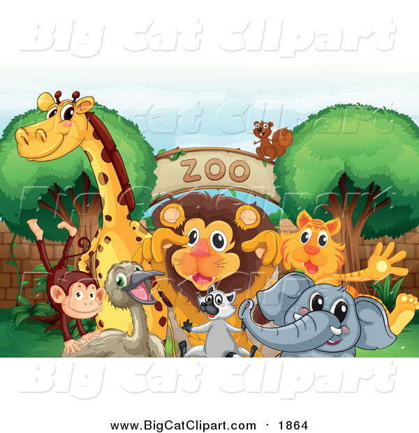Big Cat Cartoon Vector Clipart of a Animals Gathered at a Zoo Entrance