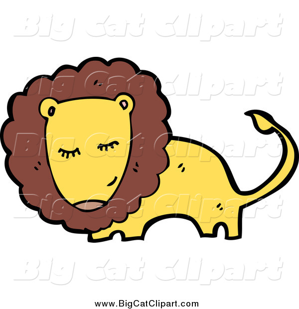 Big Cat Cartoon Vector Clipart of a Bashful Yellow and Brown Male Lion