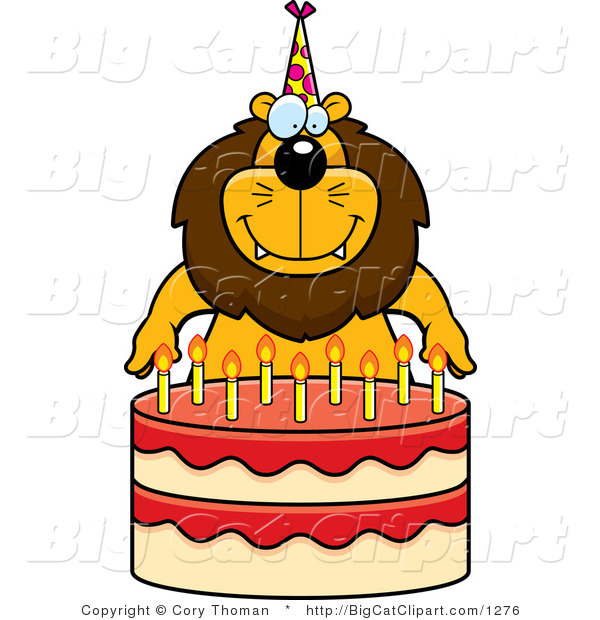 Big Cat Cartoon Vector Clipart of a Birthday Lion