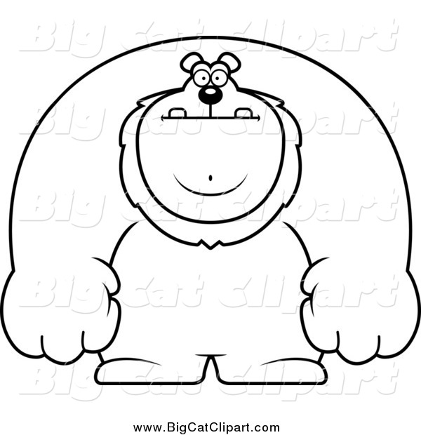 Big Cat Cartoon Vector Clipart of a Black and White Buff Lion