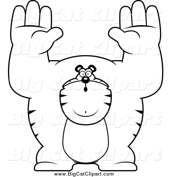 Big Cat Cartoon Vector Clipart of a Black and White Buff Tiger Giving up