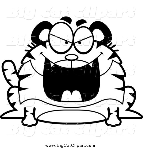 Big Cat Cartoon Vector Clipart of a Black and White Grinning Evil Chubby Tiger