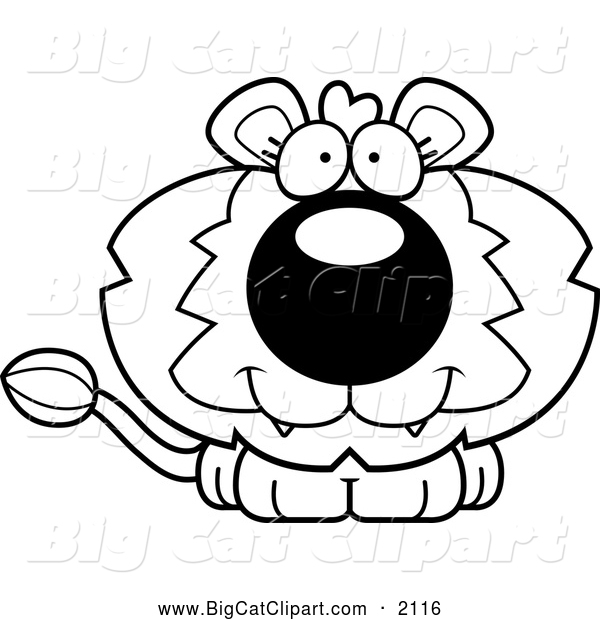 Big Cat Cartoon Vector Clipart of a Black and White Happy Cute Lion