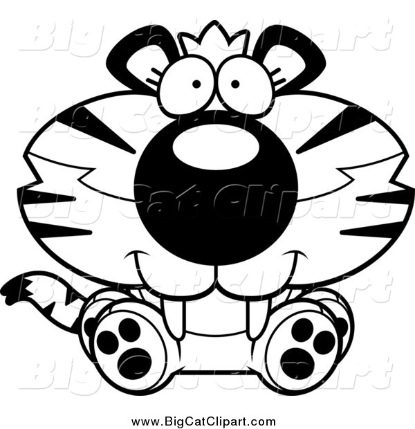 Big Cat Cartoon Vector Clipart of a Black and White Happy Cute Sitting Tiger Cub