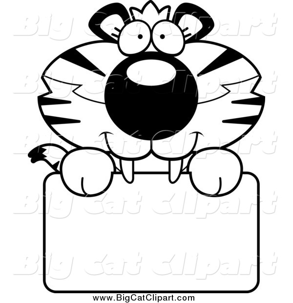 Big Cat Cartoon Vector Clipart of a Black and White Happy Tiger Cub over a Sign