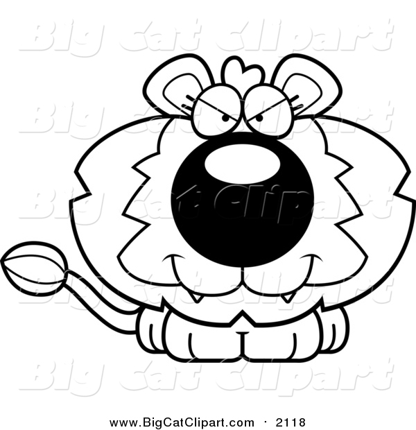Big Cat Cartoon Vector Clipart of a Black and White Lineart Cute Evil Lion