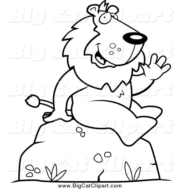 Big Cat Cartoon Vector Clipart of a Black and White Lion Sitting and Waving