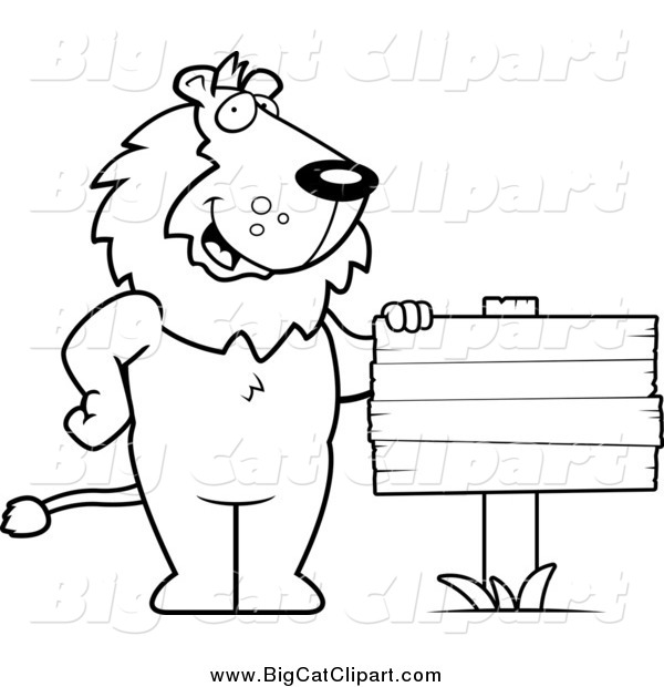 Big Cat Cartoon Vector Clipart of a Black and White Lion Standing by a Blank Wood Sign