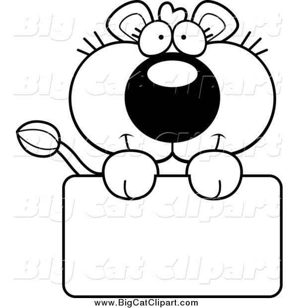 Big Cat Cartoon Vector Clipart of a Black and White Lioness over a Sign