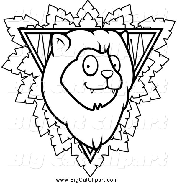 Big Cat Cartoon Vector Clipart of a Black and White Safari Lion