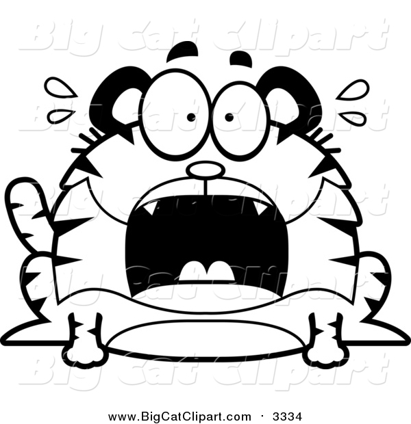 Big Cat Cartoon Vector Clipart of a Black and White Screaming Chubby Tiger