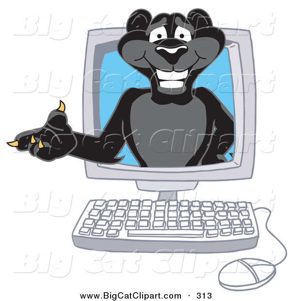 Big Cat Cartoon Vector Clipart of a Black Jaguar Mascot Character in a Computer Monitor