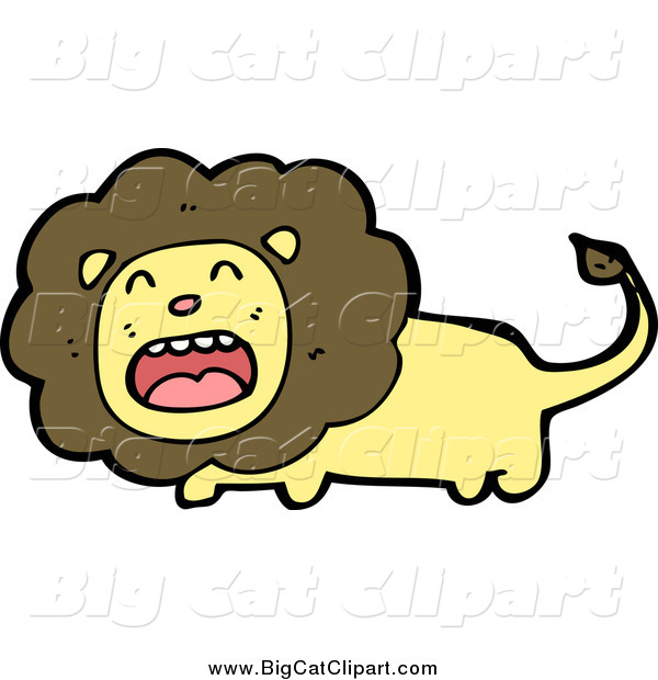 Big Cat Cartoon Vector Clipart of a Brown and Yellow Distressed Lion