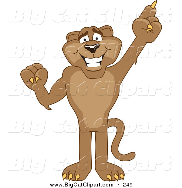 Big Cat Cartoon Vector Clipart of a Brown Cougar Mascot Character Pointing Upwards