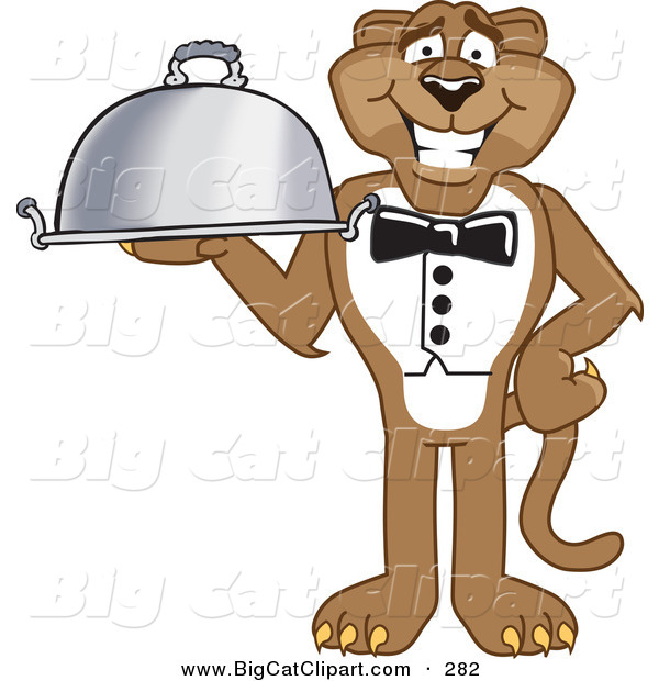 Big Cat Cartoon Vector Clipart of a Brown Cougar Mascot Character Serving a Platter