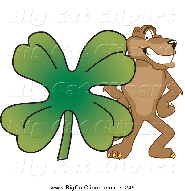 Big Cat Cartoon Vector Clipart of a Brown Cougar Mascot Character with a Clover