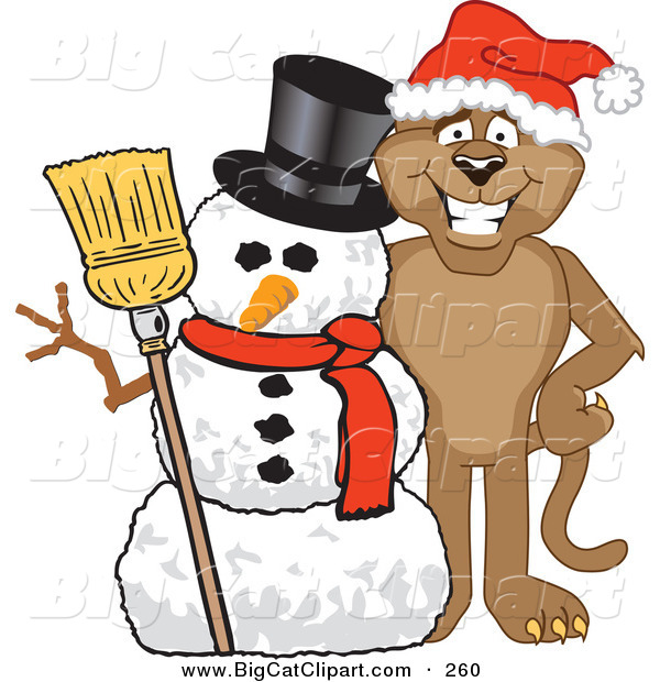 Big Cat Cartoon Vector Clipart of a Brown Cougar Mascot Character with a Snowman