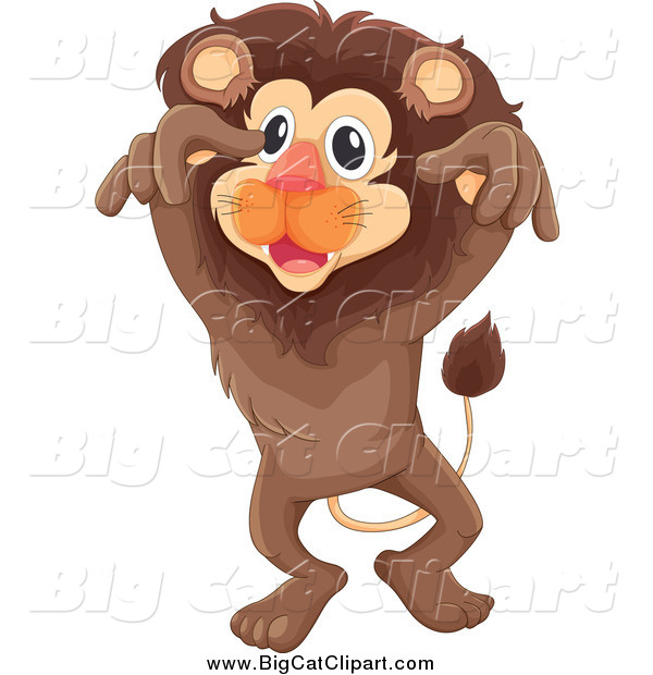 Big Cat Cartoon Vector Clipart of a Brown Lion Leaping