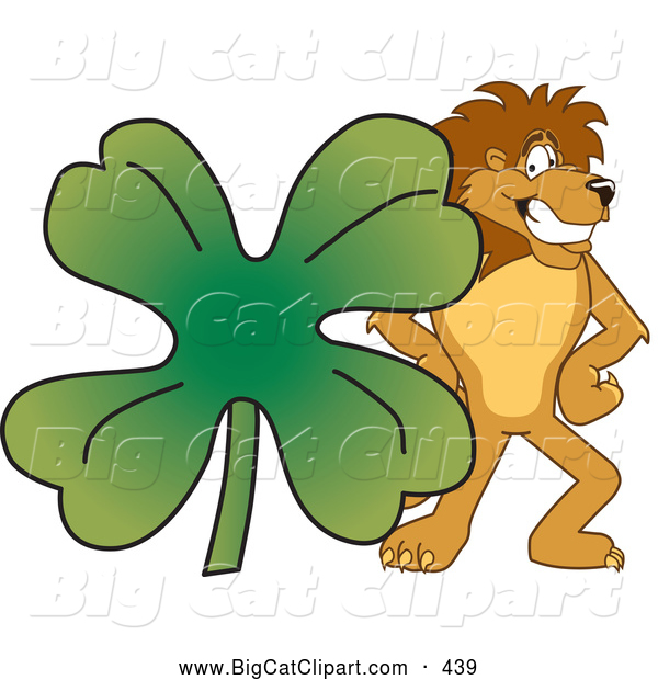 Big Cat Cartoon Vector Clipart of a Cheerful Lion Character Mascot with a Clover