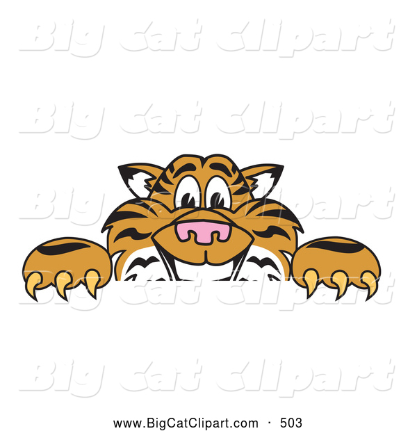 Big Cat Cartoon Vector Clipart of a Cheerful Tiger Character School Mascot Behind a Blank Sign