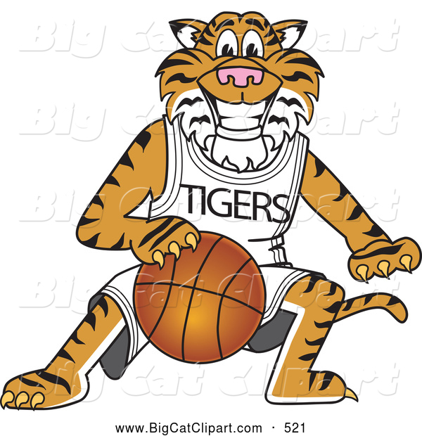 Big Cat Cartoon Vector Clipart of a Cheerful Tiger Character School Mascot Playing Basketball