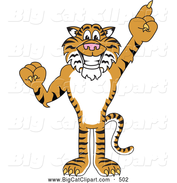Big Cat Cartoon Vector Clipart of a Cheerful Tiger Character School Mascot Pointing up