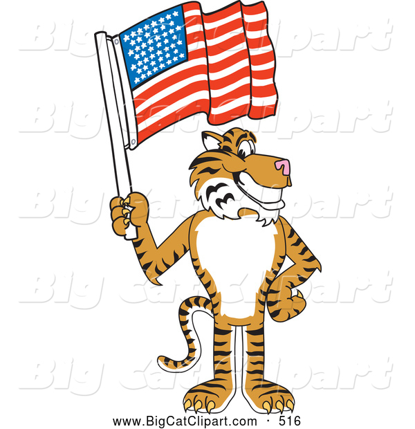 Big Cat Cartoon Vector Clipart of a Cheerful Tiger Character School Mascot with an American Flag
