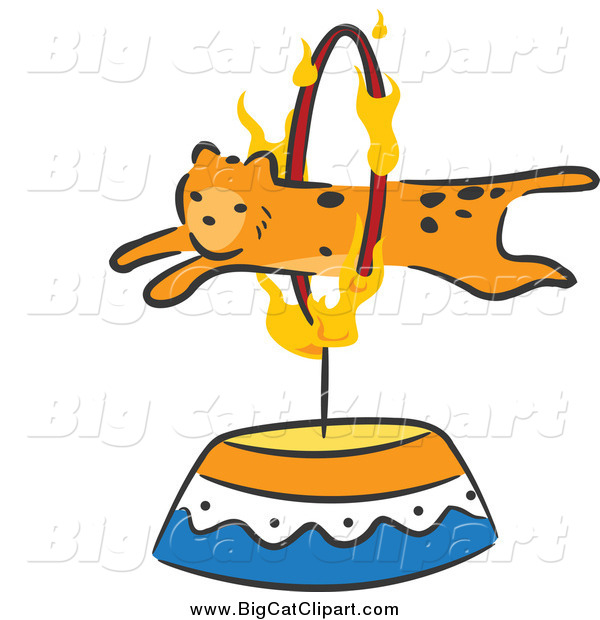 Big Cat Cartoon Vector Clipart of a Cheetah Leaping Through a Flaming Hoop Circus Act