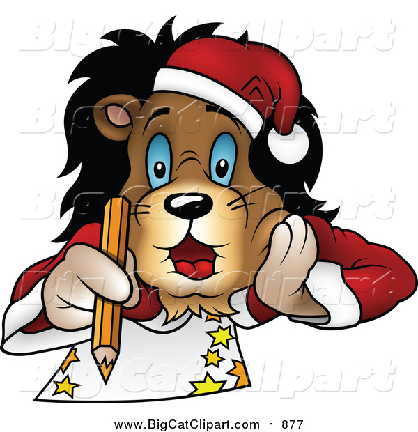 Big Cat Cartoon Vector Clipart of a Christmas Lion Laying on His Belly and Drawing