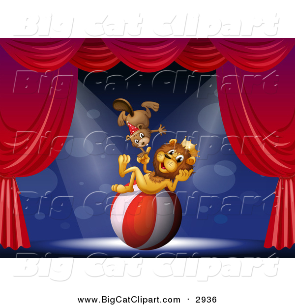 Big Cat Cartoon Vector Clipart of a Circus Lion and Beaver on Stage with a Ball
