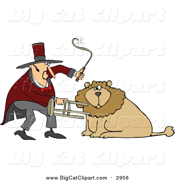 Big Cat Cartoon Vector Clipart of a Circus Lion Tamer Holding a Stool and Whip