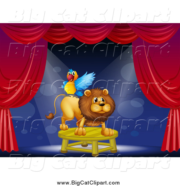 Big Cat Cartoon Vector Clipart of a Circus Parrot on a Lion's Back on Stage