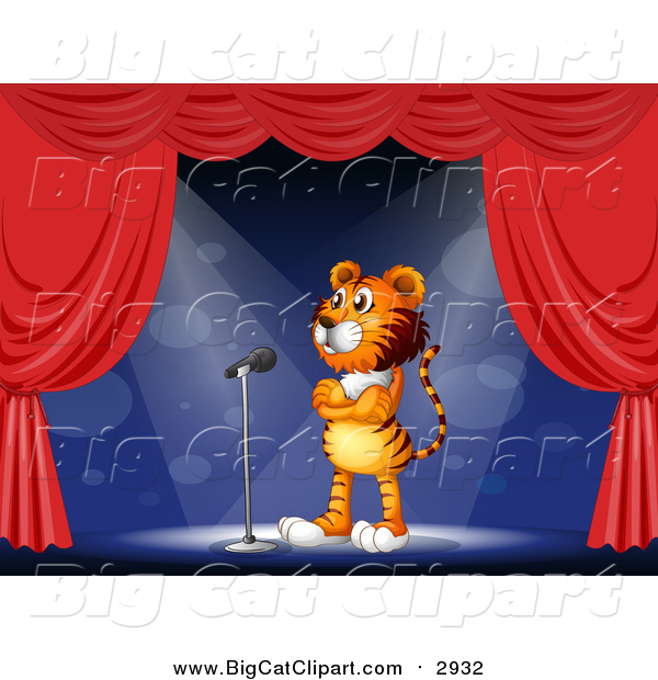 Big Cat Cartoon Vector Clipart of a Circus Tiger on a Stage