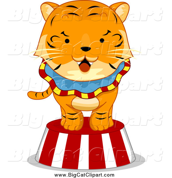 Big Cat Cartoon Vector Clipart Of A Circus Tiger On A