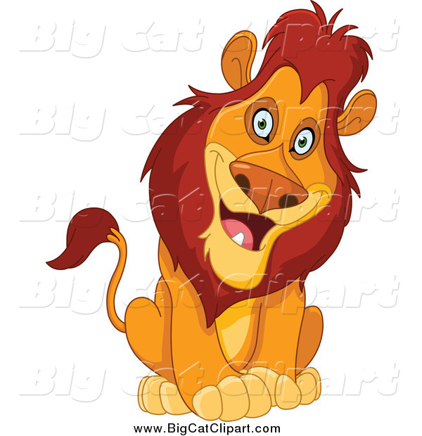 Big Cat Cartoon Vector Clipart of a Curious Sitting Male Lion Cocking His Head