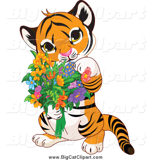 Big Cat Cartoon Vector Clipart of a Cute Baby Tiger Holding Flowers