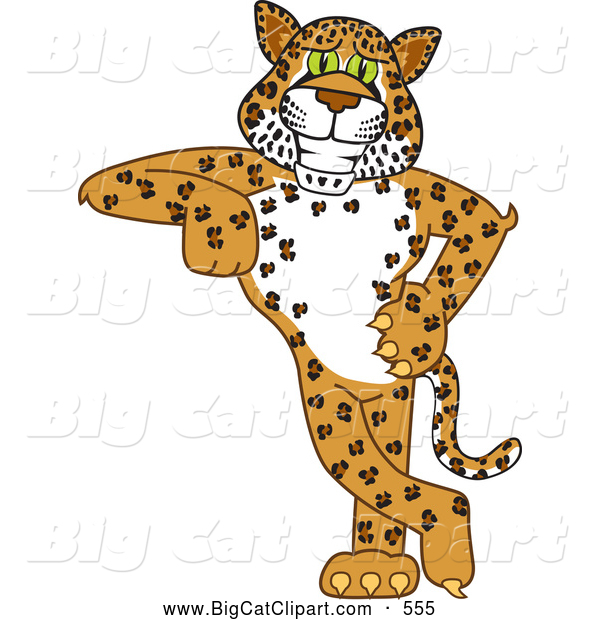 Big Cat Cartoon Vector Clipart of a Cute Cheetah, Jaguar or Leopard Character School Mascot Leaning