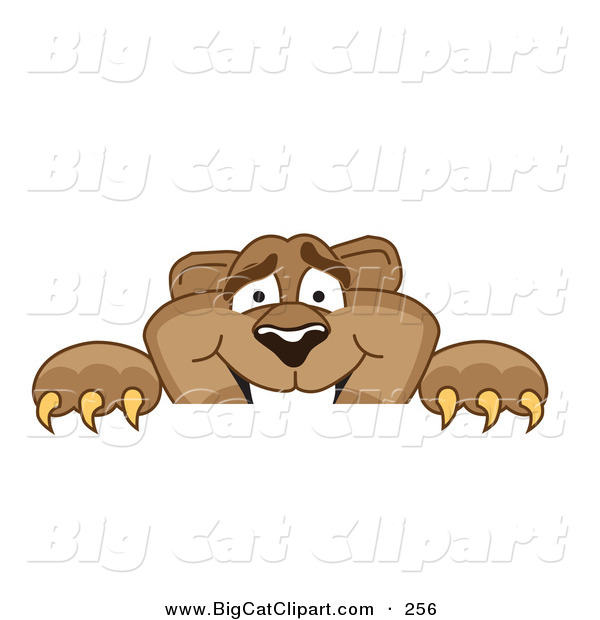 Big Cat Cartoon Vector Clipart of a Cute Cougar Mascot Character Peeking over a Surface