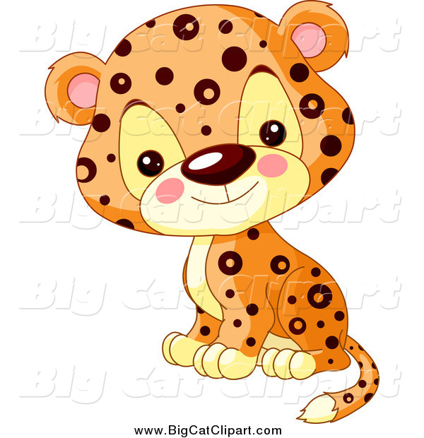 Big Cat Cartoon Vector Clipart of a Cute Jaguar Cub Sitting