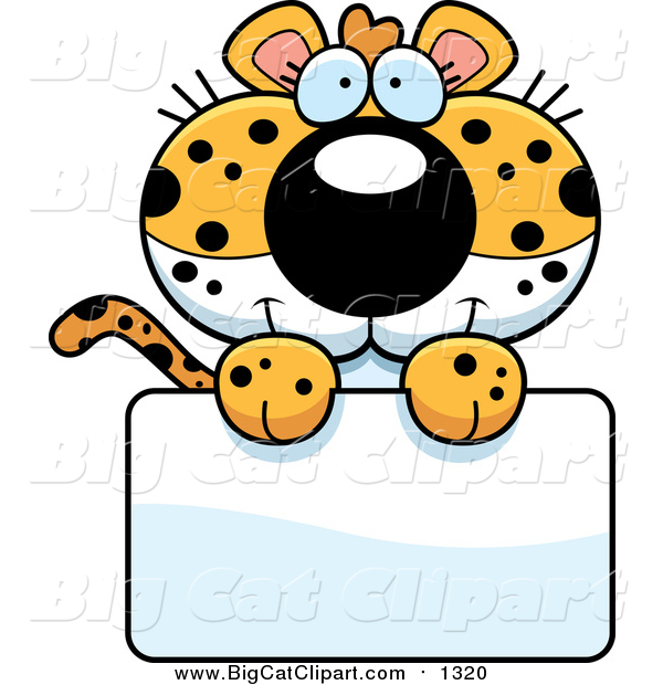 Big Cat Cartoon Vector Clipart of a Cute Leopard Cub over a Blank Sign